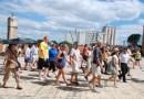 turistas en la zona colonial