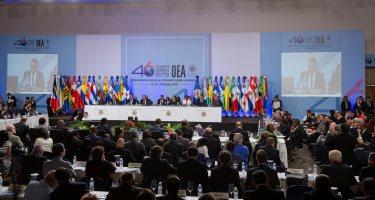 STO01. SANTO DOMINGO (REPÚBLICA DOMINICANA), 14/06/2016.- Vista general de la primera plenaria durante la 46 Asamblea General de la Organización de Estados Americanos (OEA) hoy, martes 14 de junio de 2016, en Santo Domingo (República Dominicana). Representantes de 34 países del hemisferio participan en el evento. EFE/Orlando Barría