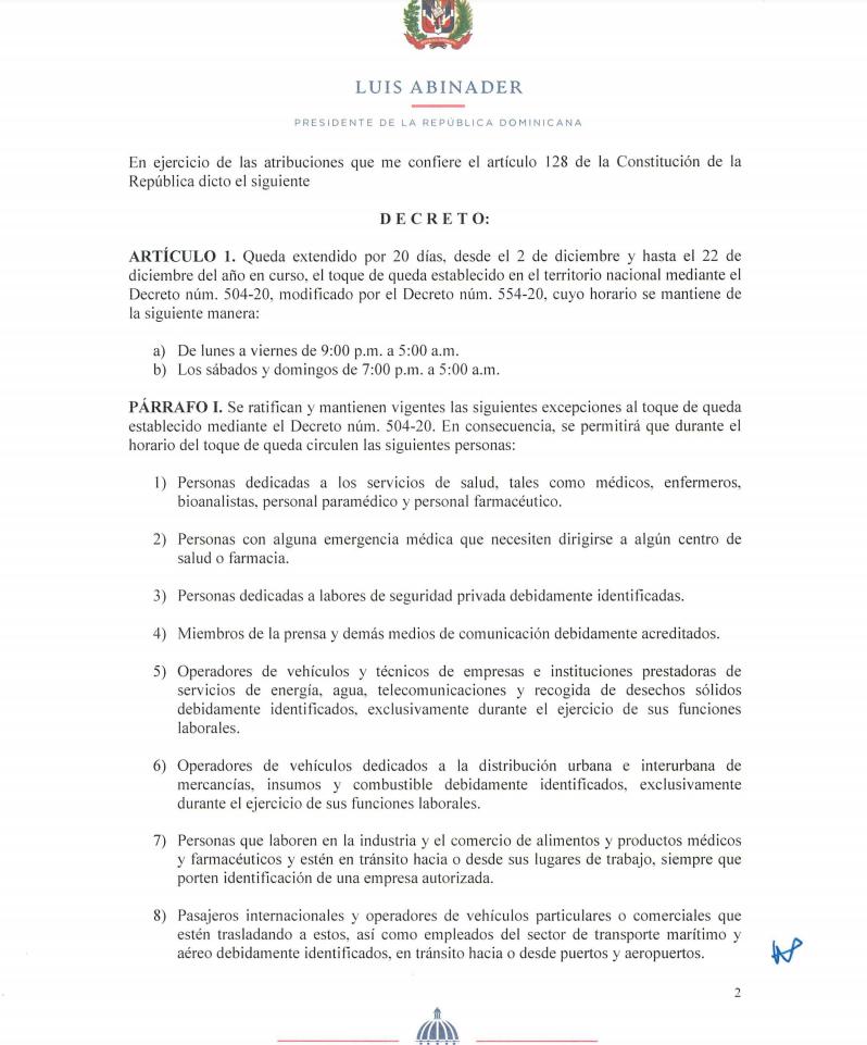 Abinader Extiende Toque De Queda Hasta El 22 De Diciembre Y Mantiene Horario Actual Noticias De Turismo Arecoa Com